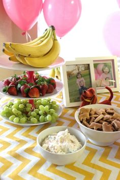 Curious George Party Food - fruit, bananas (of course!), animal crackers