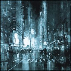 Composition 133 by Jeremy Mann.  Oil on Panel - 36 x 36 in. - 25 CPW Gallery, New York