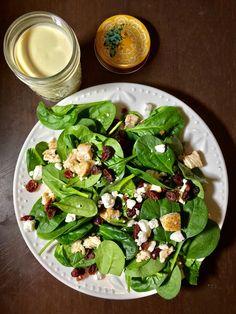Cranberry Spinach Chicken Salad with Honey Mustard Dressing Raw Chicken, Spinach Stuffed Chicken, Chicken Salad, Large Salad Bowl, Salad Bowls, Baby Spinach Salads, Honey Mustard Dressing, Salad Ingredients, Chicken Seasoning