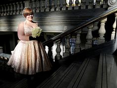Couture wedding dress created by Busting Diva's dressmakers