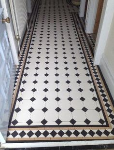 If you're looking for floor tiles in North London, look no further than Crofts Tile Centre in Muswell Hill. We supply and fit floor tiles. Tel: 020 8883 5243 Informations About If you're looking for f Victorian Hallway Tiles, Edwardian Hallway, Tiled Hallway, Tile Stairs, Entryway Flooring, Hall Flooring, Kitchen Flooring, Ceramica Artistica Ideas, Hall Tiles