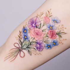 Best butterfly tattoo design idea – Page 30 – Kornelia Nowak Colorful Flower Tattoo, Tiny Flower Tattoos, Birth Flower Tattoos, Beautiful Flower Tattoos, Dainty Tattoos, Pretty Tattoos, Unique Tattoos, Tattoo Girls, Cute Girl Tattoos