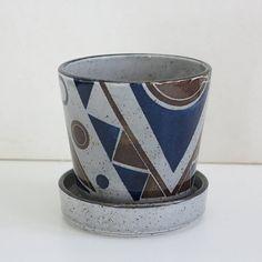 Midcentury Japanese Art Deco Transferware Ceramic Planter Pot