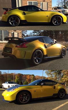 Check out this cool color on this 370Z!  3M 1080 Lemon Sting.  Wrapped installed by Big Splash Graphics. www.bigsplashgraphics.com