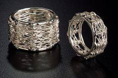 Silver Bamboo Rings by Randi Chervitz. Fabricated sterling silver structure, onto which *fine silver* wire is hand-crocheted. Wide Bamboo Ring measures approximately .5 inches in diameter. Ring available in sizes 5-12. These rings are made to order and cannot be sized. Please be professionally sized with a wide-band ring sizer.