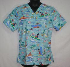 Women's Disney Surf Mickey & Pals Scrub Top Large Hula Tiki Goofy Pluto
