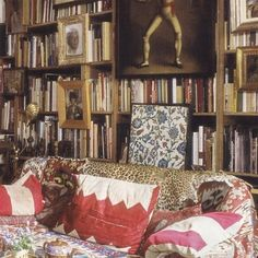 A lived in and well collected life. Writer and horticulturist Umberto Pasti's Milan apartment. Books, paintings, Neolithic and Paleolithic artifacts, flea market finds... World of Interiors March 2013. #interiordesign #livedin #decor #collection #inspiration #art #textiles