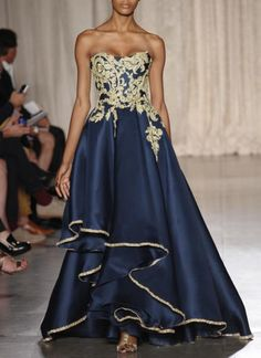Navy and gold strapless gown - Marchesa NYFW Spring 2013