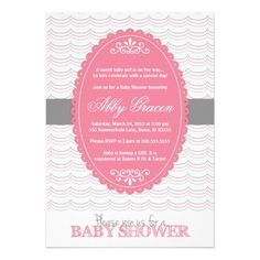 Baby shower invite for girls - pink and gray - 780 Pink Showers, Baby Showers, Baby Shower Invites For Girl, Baby Shower Invitations, Baby Shower Gifts, Sister Shower, Baby Coming, It's Coming, Kate Baby