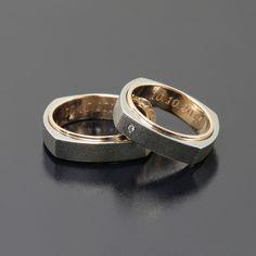 Obrączki z palladu i różowego złota - kwadratowe - inne! www.inneobraczki.pl #obraczki #slub #złoto #rings
