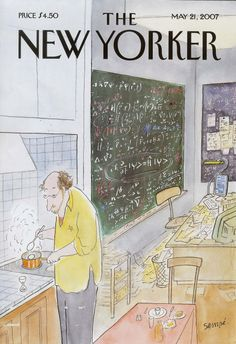 """Jean-Jacques Sempé, physics and egg timer cover for The New Yorker (May 21, 2007). The equations include """"quantum mechanics statements – Schrodinger's equation, Heisenberg's uncertainty principle, the definition of the Hamiltonian in question ... then there's a reminder of what happens in beta-decay of the neutron,"""" with """"the inevitable ... E=mc2 thrown in."""" Caption by Clifford V. Johnson at http://asymptotia.com/2007/05/16/simple-physics-by-sempe/"""