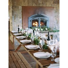 nice vancouver wedding A rustic farmhouse table preset with wine is a great way to welcome your guests!  #vancouverwedding #vancouverwedding
