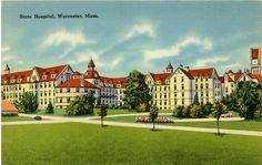 Vintage Massachusetts Postcard of the Worcester State Hospital.