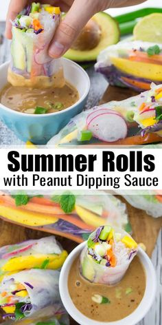 These vegan summer rolls with mango and mint are the perfect light dinner for ho., These vegan summer rolls with mango and mint are the perfect light dinner for ho. These vegan summer rolls with mango and mint are the perfect light. Delicious Vegan Recipes, Vegetarian Recipes, Cooking Recipes, Healthy Recipes, Vegan Recipes Summer, Vegan Vegetarian, Vegan Food, Healthy Rolls, Healthy Snacks