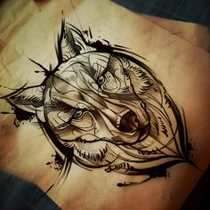 « #loup #Wolf #sketch #esquisse #dessin #drawing #tattoo #tatouage #Toulouse…