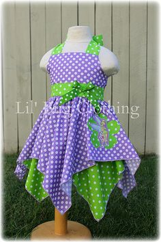 Custom Boutique Clothing Tinkerbell 1 Piece Jumper Handkerchief Dress or Costume Lavender And Lime Bug Clothing, Boutique Clothing, Multiple Outfits, Birthday Girl Dress, Tinker Bell Costume, Handkerchief Dress, Costume Dress, Baby Dress, Dot Dress