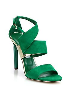 f39cd71f1ad8b Jimmy Choo Trapeze Asymmetrical Suede  amp  Metallic Leather Sandals  Beautiful Sandals