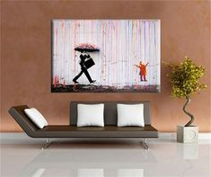 Banksy art Colorful Rain BANKSY canvas painting wall pictures for living room wall art cuadros decorativos poster and print >>> More info could be found at the image url. #HomeDecor