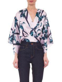 Blusa Feminina Laço Frente Folhas - Iorane - Rosa - Shop2gether