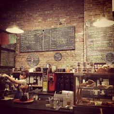 Brick interior coffee bar. Coffee shop