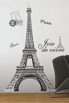 "Eiffel Tower Big 56"" Wall Stickers Mural Paris Room Decor Vinyl Decals | eBay"