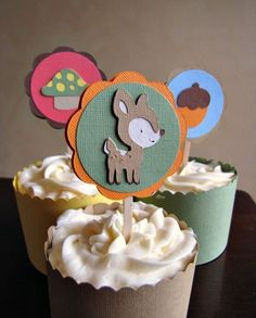 Woodland Party Cupcake Toppers - Forest Friends. $0,75, via Etsy.