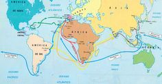 1415 -tomada de Ceuta, importante entreposto comercial no norte da África;  1420 -ocupação das ilhas da Madeira e Açores no Atlântico;  1434 -chegada ao Cabo Bojador;  1445 -chegada ao Cabo Verde;  1487 -Bartolomeu Dias e a transposição do Cabo das Tormentas;  1498 -Vasco da Gama atinge as Índias ( Calicute );  1499 -viagem de Pedro Álvares Cabral ao Brasil.    Expansão marítima espanhola