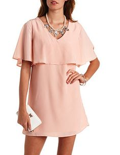 Strappy Back Flutter Sleeve Flounce Shift Dress: Charlotte Russe