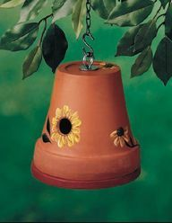 Neat Idea! Great craft idea for the kids: Flower Pot Bird House!