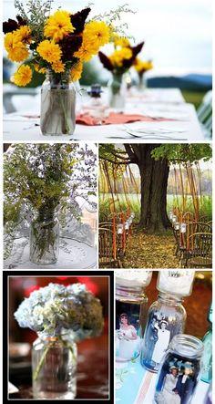 Mason Jars By Earth Friendly Weddings   ribbons in the tree