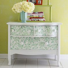 """Salvage Success Story: """"Stencils are a perfect decorative cure for flea market finds such as this dresser. First, prime and paint your dresser a fresh coat of white. Use a large wallpaper-style stencil (home centers and crafts stores carry these) to transfer designs to the drawer fronts in a contrast color. Cheap, easy, and fast-perfect!"""""""