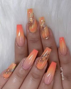 Try some of these designs and give your nails a quick makeover, gallery of unique nail art designs for any season. The best images and creative ideas for your nails. Best Acrylic Nails, Acrylic Nail Designs, Nail Art Designs, Orange Acrylic Nails, Orange Nail Designs, Acrylic Summer Nails Coffin, Bright Summer Acrylic Nails, Acrylic Toes, Long Nail Designs