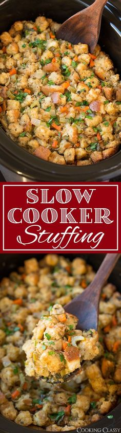 Slow Cooker Stuffing - This has been my go-to stuffing recipe for years! Always a crowd pleaser! Definitely dry your own bread cubes, tastes better and has a better texture. You can also add sausage or mushrooms to this. dinner ideas for christmas Best Stuffing Recipe, Stuffing Recipes For Thanksgiving, Holiday Recipes, Dinner Recipes, Thanksgiving Food, Christmas Stuffing, Dinner Ideas, Dinner Entrees, Dinner Dishes