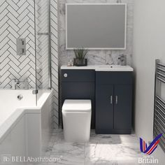 Elation Compact Combination L Shape Indigo Matt Furniture Pack - Fast Delivery, Will Not Be Beaten on Price. Call Bella Bathrooms on 0191 303 7771 Small Bathroom Layout, Small Bathroom Ideas Uk, Guys Bathroom, Bathroom Photos, Family Bathroom, Downstairs Bathroom, Bathroom Wall, Toilet Vanity Unit, Toilet And Sink Unit