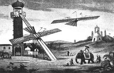 1843 ~ William Samuel Henson's proposed launching ramp would descend from a tower where passengers board. Such ads made many reporters extremely skeptical of the motives of the Aerial Transit Company.