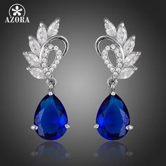 Clear and Dark Blue Color Water Drop Earrings