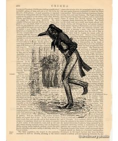 Raven Gentleman Art Print on Antique Book Page Vintage Illustration Crow Bird | eBay