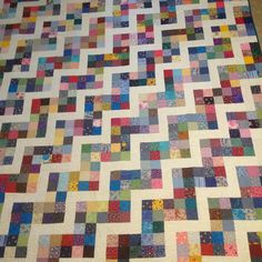 Beautiful Homemade Zig-Zag Quilt Scrappy Quilts, Baby Quilts, Memory Quilts, Lattice Quilt, Postage Stamp Quilt, Scrap Quilt Patterns, Scrap Busters, King Size Quilt, String Quilts