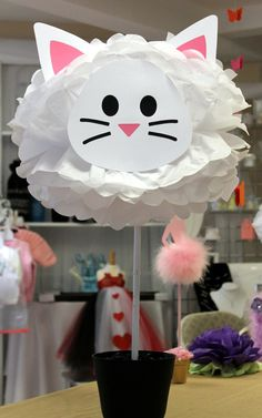 Kit de pom de papel de seda de gato Aristocats Party, Cat Party, Kitten Party, Girl 2nd Birthday, Cat Themed Parties, Birthday Party Centerpieces, Fiesta Party, Childrens Party, Party Gifts