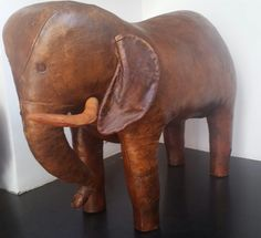Ca. 1970 leather elephant footstool. By Omersa.