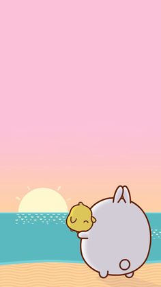 Molang and Piu Piu at the beach