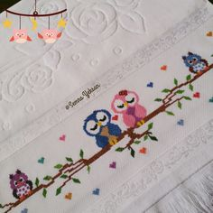 This Pin was discovered by Cec Embroidery On Kurtis, Baby Embroidery, Silk Ribbon Embroidery, Cross Stitch Embroidery, Embroidery Designs, Cross Stitch Owl, Cross Stitch Charts, Cross Stitching, Cross Stitch Patterns