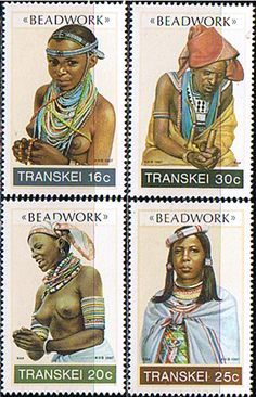 Transkei 1987 Beadwork Set Fine Mint SG 201 4 Scott 191 4 Condition Fine MNH Only one post charge applied on multipule Rare Stamps, Old Stamps, African History, African Art, Xhosa, Postage Stamp Art, African Tribes, Stamp Collecting, Mail Art
