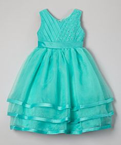 Look at this #zulilyfind! Turquoise Beaded Layered Dress - Toddler & Girls by Growing Up #zulilyfinds