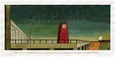 """""""Soñé que en ciertas épocas del año la constelación de la lira formaba en el firmamento la palabra «Duchamp» """"-(""""I Dreamed that at Certain times of the Year the Lyre Constellation formed in the Sky the Word 'Duchamp')"""". 1988. Graphite, India ink and watercolor on paper. 27 x 55 cm"""