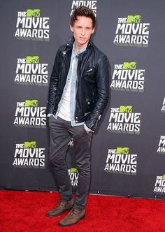 Eddie Redmayne on the red carpet at the 2013 MTV Movie Awards.
