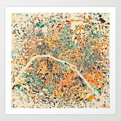 Paris mosaic map #3 Art Print by Map Map Maps - $18.00