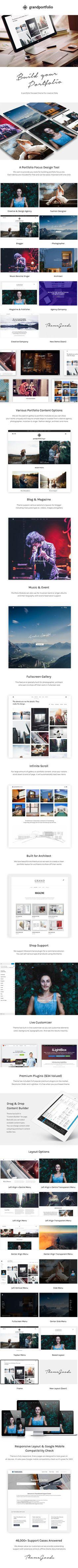 Grand Portfolio | Responsive Portfolio wordpress theme NEW