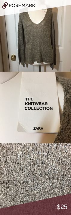 """🆕 NWT ZARA TOP FROM THE KNITWEAR COLLECTION SZ M! Measurements: Sleeves 26 1/2"""" Front & Back each 27"""" """"V"""" approx 10"""" From seam to """"V"""" 10""""  Very open worked, would need a camisole or suc underneath. Brand new with tag, showing it was purchased in Europe! Zara Sweaters V-Necks"""