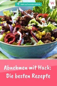 Wir stellen dir die besten Diät-Rezepte der Welt vor - zumindest, wenn du auf Hack stehst. 5 Rezepte, die die Pfunde purzeln lassen und die sogar dein Mann lieben wird. Also Diät zu zweit mit Genuss, statt alleine und Frust. Atkins, Food And Drink, Healthy Recipes, Vegetarian, Healthy Food